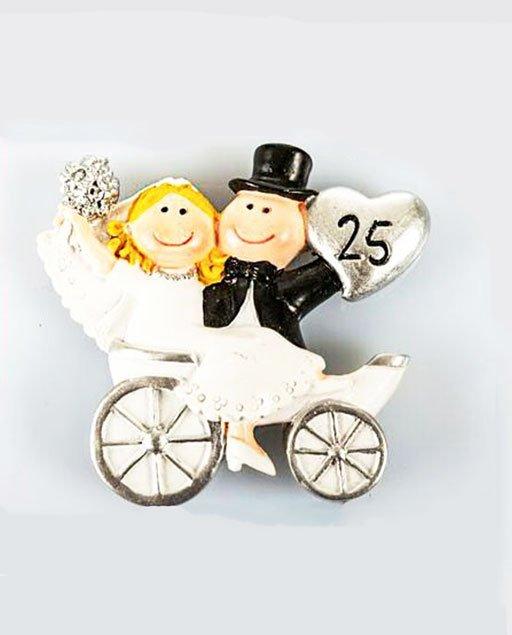 Xxv Anniversario Di Matrimonio.Bomboniera Calamita 25 Anniversario