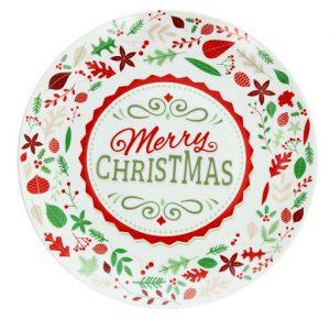 Piatto per panettone Merry Christmas decorato dal design elegante e raffinato, impreziosito da fini decori natalizi. Anche un originale regalo di Natale per i propri cari. Lavabile in lavastoviglie e utilizzabile al microonde.