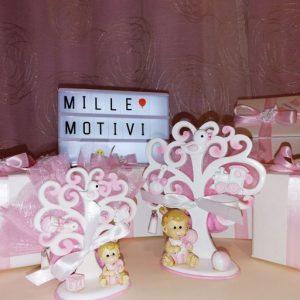 Bomboniera Albero della Vita bimba realizzata in resina bianca e rosa portafoto