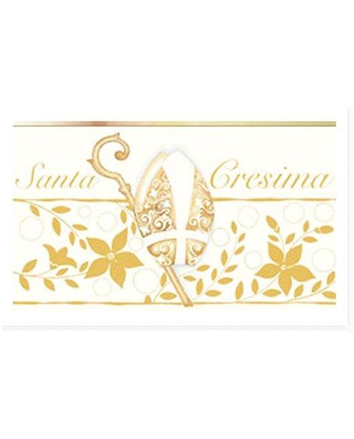 """Bigliettini Cresima da stampare o stampati, realizzati con cartoncino bianco liscio di medio spessore, decorati da uno sfondo bianco e dorato con scritta """"Santa Cresima""""."""