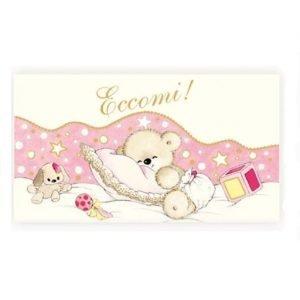 biglietti nascita bimba con orsetto