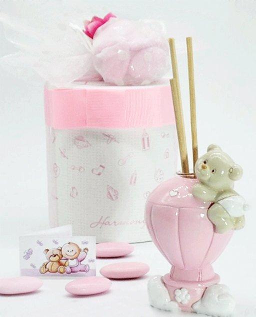 bomboniera battesimo mongolfiera profumatore rosa