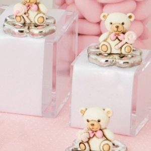 Bomboniera orsetto portafortuna rosa