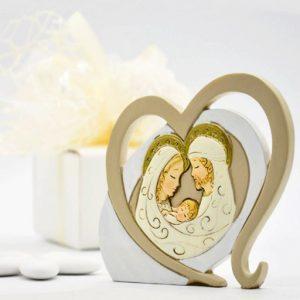 Bomboniera Sacra Famiglia con cornice a forma di cuore