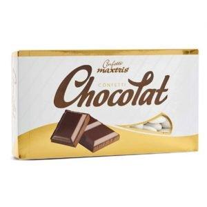 Confetti al cioccolato fondente di colore bianco ricoperti da un sottile strato di zucchero. SENZA GLUTINE. Confezione da 1 kg, circa 250 pezzi