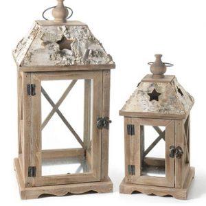 lanterne in elgno set 2 pezzi