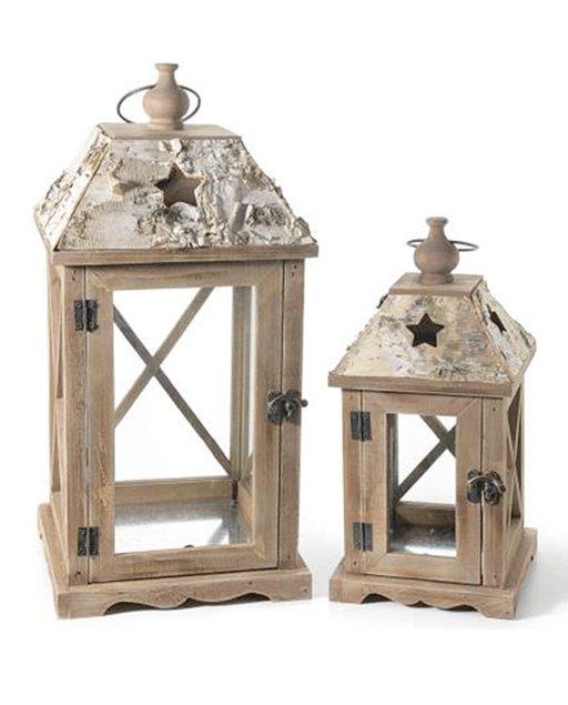 lanterne in legno set due pezzi misure assortite