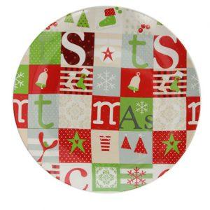 Piatto per panettone porcellana. Di qualità particolarmente robusta, ideale per l'uso quotidiano. Anche un originale regalo di Natale per i propri cari. Utilizzabile in lavastoviglie e microonde.