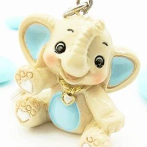 bomboniera portachiavi elefantino bimbo celeste