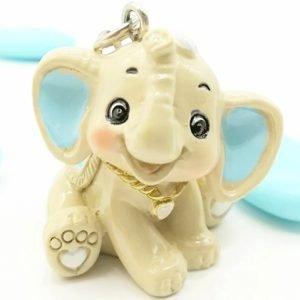 bomboniera portachiavi elefantino celeste bimbo