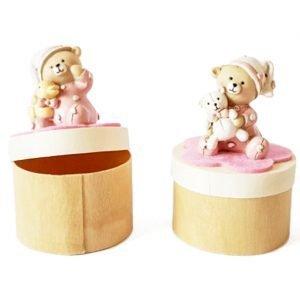 portaconfetti orsetto rosa in legno
