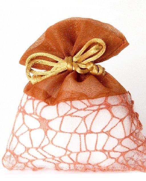 Sacchetti portaconfetti in rete colore arancio