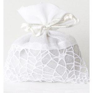Sacchetti portaconfetti in rete colore bianco