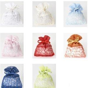 Sacchetti portaconfetti in rete colorata