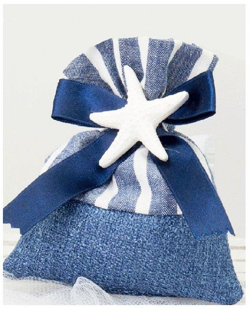 sacchetto portaconfetti con applicazione distella marina