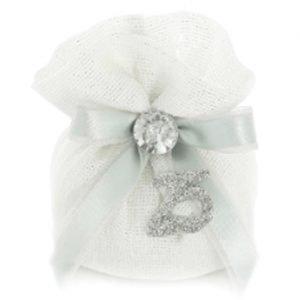 Sacchetto nozze d'argento completo di confetti
