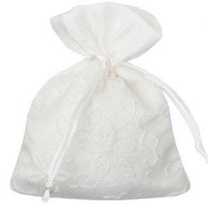 sacchetto portaconfetti bianco ricamato
