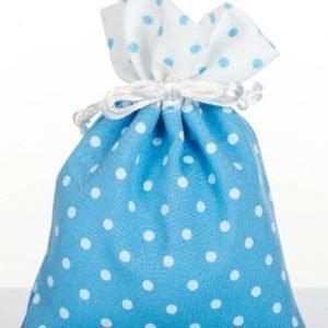 sacchetto portaconfetti celeste pois bianco in cotone
