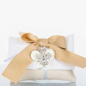 sacchetto portaconfetti pochette bustina cuorematto con ciondolo farfalla