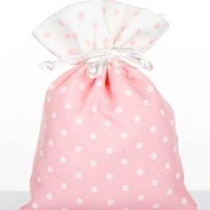 sacchetto portaconfetti rosa pois bianco in cotone
