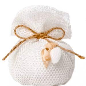 sacchetto rete con applicazione conchiglia e confetti