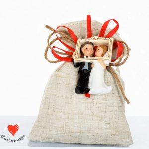 sacchetti sposi portaconfetti con magnete coppia