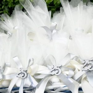 sacchetto nozze argento in tulle