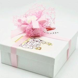 Scatola bomboniera portafoto battesimo rosa per bimba