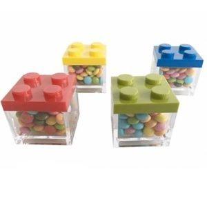 Scatoline portaconfetti Lego con smarties