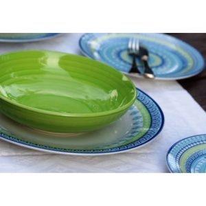 Servizio di piatti Ginger Tognana realizzati in porcellana. Servizio composto da 18 pezzi, utilizzabili in microonde, lavabili in lavastoviglie.