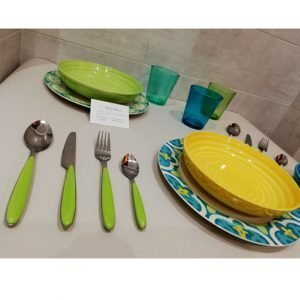 Servizio piatti Tognana giallo e verde