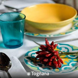 Servizio di piatti Amalfi Tognana realizzati in porcellana. Servizio composto da 18 pezzi: 6 piatti piani (diametro 27 cm), 6 piatti fondi (20.50 cm), 6 piatti dessert (19 cm). Utilizzabili in microonde, lavabili in lavastoviglie.