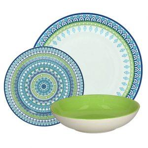 Servizio di piatti Ginger Tognana verdi e blu