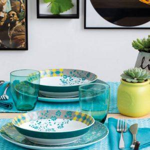 Servizio di piatti Instagreen Tognana realizzati in porcellana. Servizio composto da 18 pezzi: 6 piatti piani (diametro 27 cm), 6 piatti fondi (20,70 cm), 6 piatti dessert (21,00 cm). Utilizzabili in microonde, lavabili in lavastoviglie.