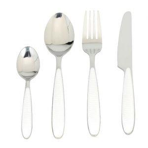 Servizio 24 posate moderno colore bianco in acciaio