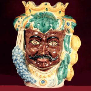 vaso testa di moro uomo in ceramica di caltagirone