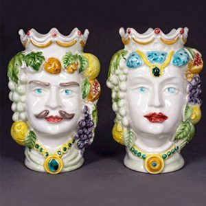 teste di moro ceramica di caltagirone alte 14 cm