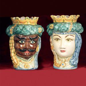 coppia teste di moro ceramica di caltagirone