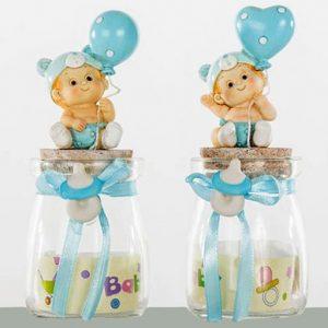 Bomboniere vasetto battesimo bimbo portaconfetti in vetro un idea originale per il tuo bimbo nascita / battesimo. Vasetti assortiti in due varianti come illustrato in foto.