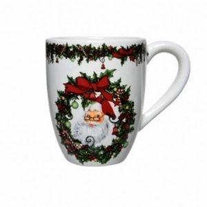 Tazza Mug santa claus in ceramica. Dimensione: 8,5 x 12,5 x 11 cm.