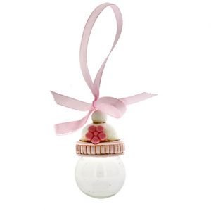 Appendino biberon rosa, con nastro realizzata in resina. La bomboniera si presenta fine ed elegante ideale per nascita o battesimo