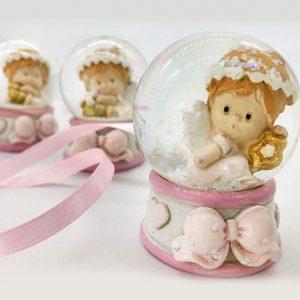 Palla di neve con angioletto bimba di vetro con neve glitterata