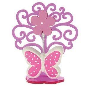 Bomboniera albero con farfalla rosa, realizzata in resina. La bomboniera si presenta come dimostrato in foto.