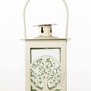 Bomboniera Lanterna in metallo color panna/avorio con vetro perimetrale e decorazione a forma di albero della vita. Ideale per bomboniera matrimonio, compleanno, comunione, cresima.