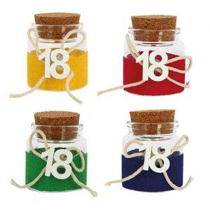 Barattolino portaconfetti 18° compleanno con tappo in sughero assortiti in 4 varianti di colore: rosso, verde, giallo e blu