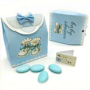 Scatolina nascita bimbo in cartoncino azzurro
