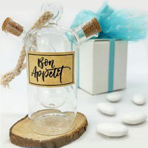 Bomboniera matrimonio porta olio e aceto fuse in un unico contenitore per condimenti con ampolla in vetro di forma sferica