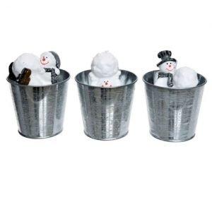 Candela pupazzo con vasetto assortita in tre varianti