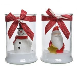 Candela natalizia con vasetto in vetro