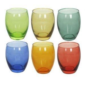 Confezione di 6 bicchieri colorati Tognana realizzati in vetro dei seguenti colori: verde scuro, giallo, verde chiaro, arancione, blu e rosso. Bicchieri perfetti per la tua tavola di ogni giorno, robusti e versatili senza rinunciare all'originalità delle forme. Lavabili in lavastoviglie.
